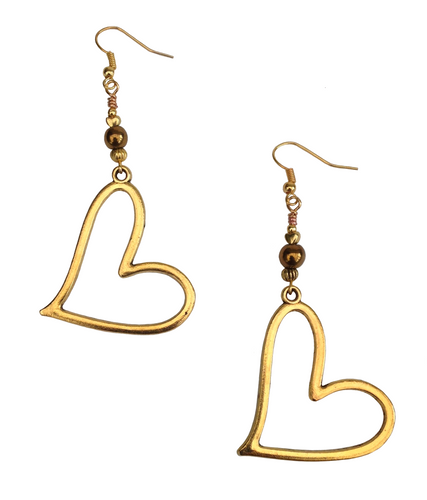 Lagenlook Large Statement Heart Dangle Earrings in Gold