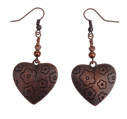 Lagenlook Heart Shaped Earrings in Red Copper