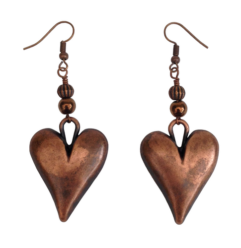Lagenlook Statement Heart Shaped  Earrings in Burnished Copper