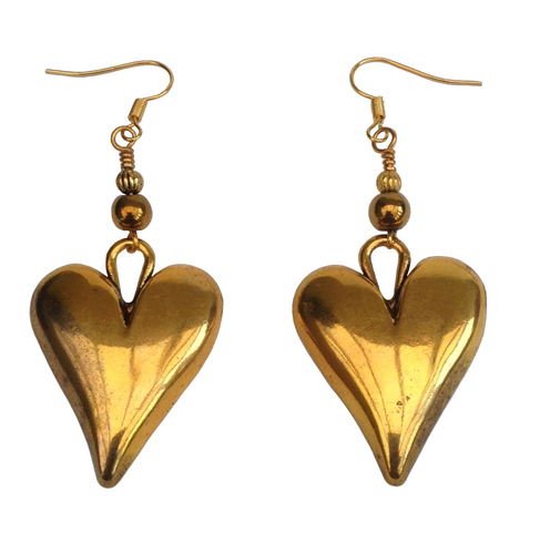 Lagenlook Statement Heart Shaped  Earrings in Burnished Gold