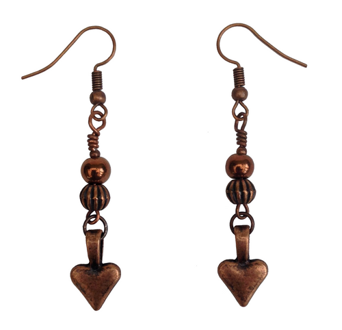Lagenlook Small Heart Dangle Earrings in Red Copper