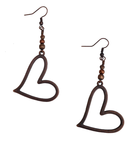 Lagenlook Large Statement Heart Dangle Earrings in Red Copper