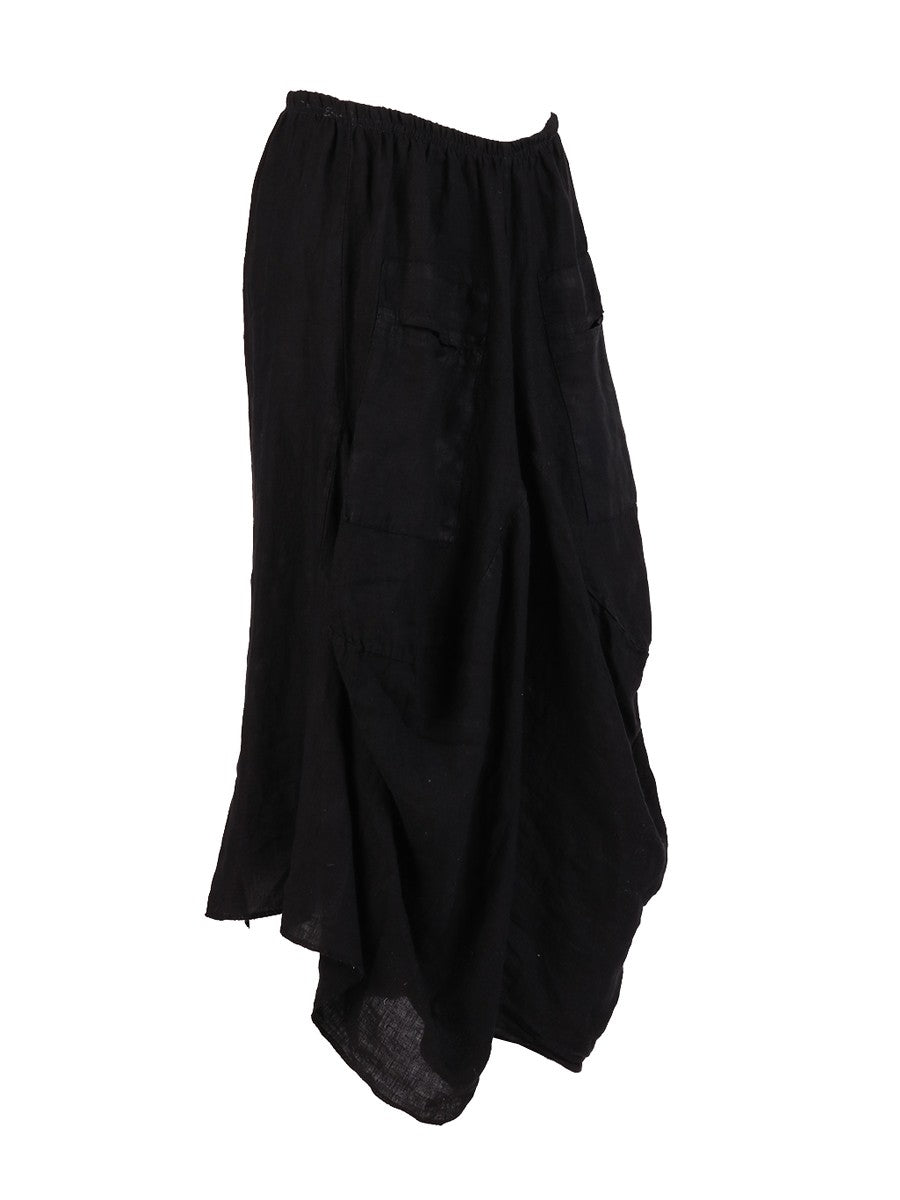 Lagenlook Italian Linen Parachute Hem Trousers in Black