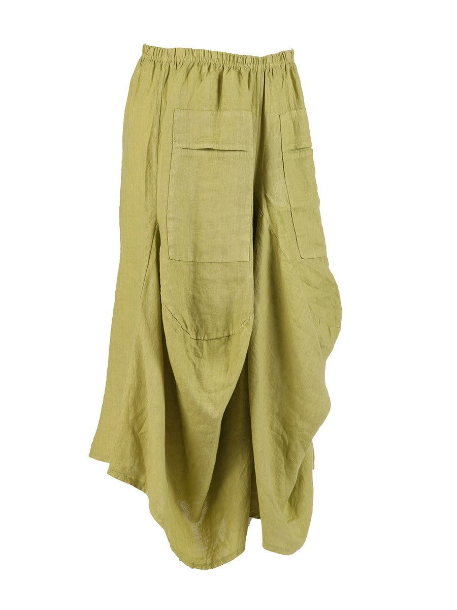 Lagenlook Italian Linen Parachute Hem Trousers in Lime Green