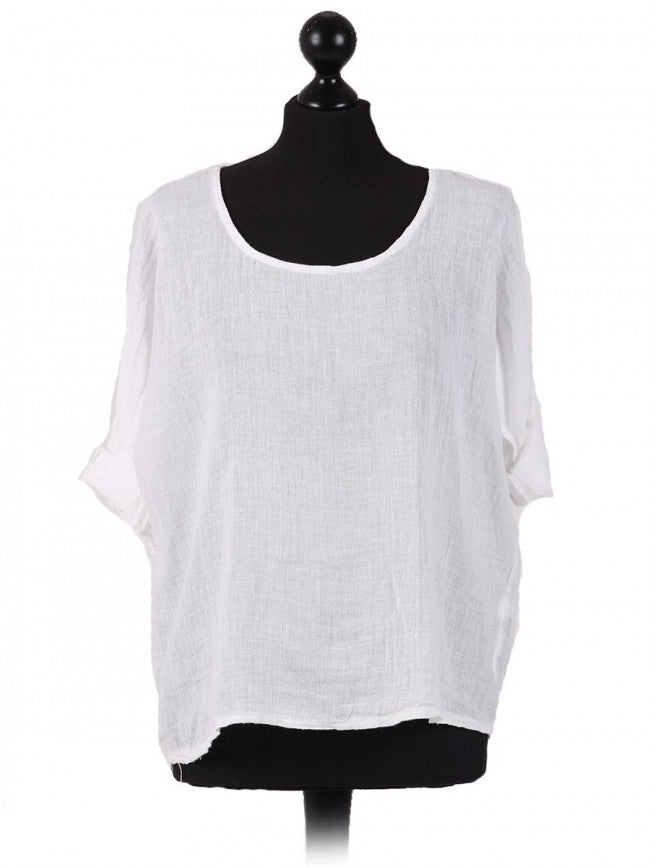 Lagenlook Italian Linen Mix Crop Top in White