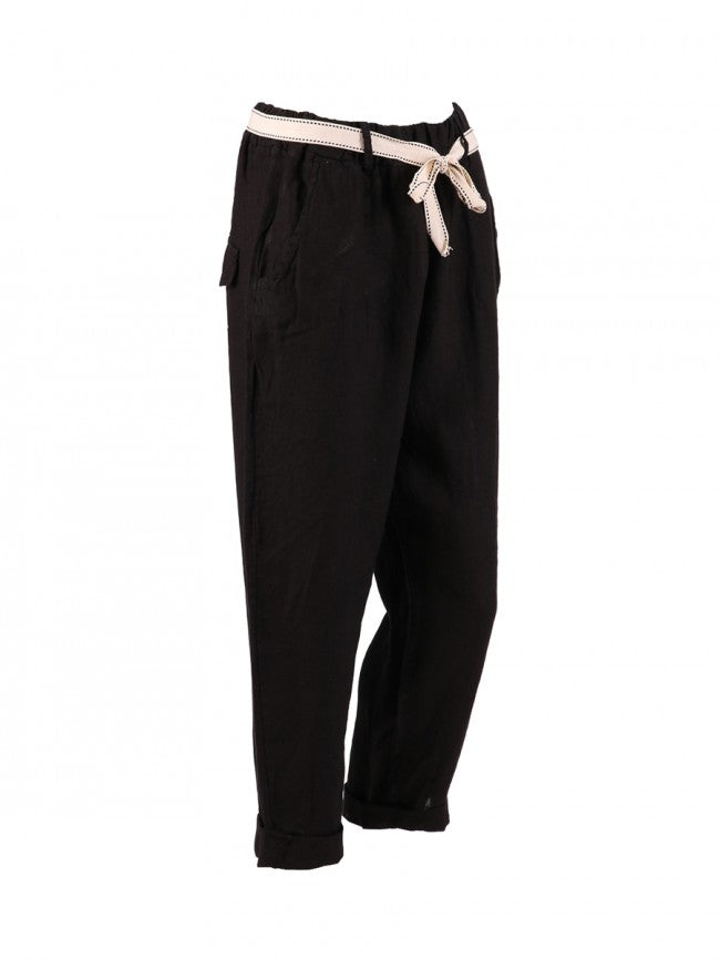 Lagenlook Italian Linen Capri Trousers in Black