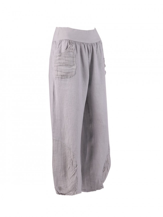 Lagenlook Italian Linen Pleated Hem Trousers in Light Grey