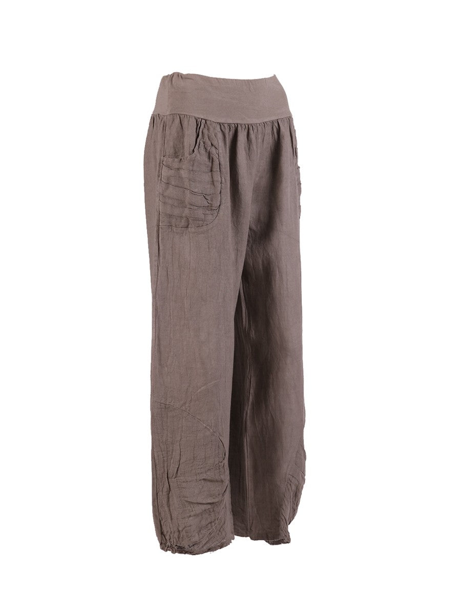 Lagenlook Italian Linen Pleated Hem Trousers in Mocha