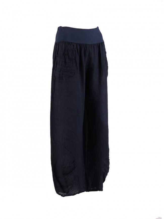 Lagenlook Italian Linen Pleated Hem Trousers in Navy Blue