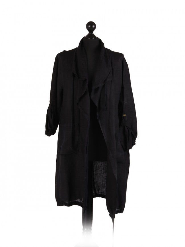 Lagenlook Linen Waterfall Jacket in Black