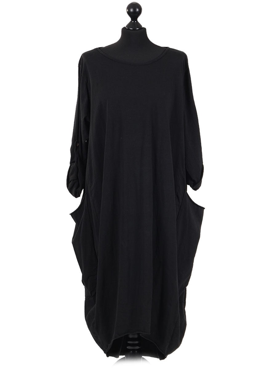 Lagenlook Plus Classic Winter Jersey Dress in Black