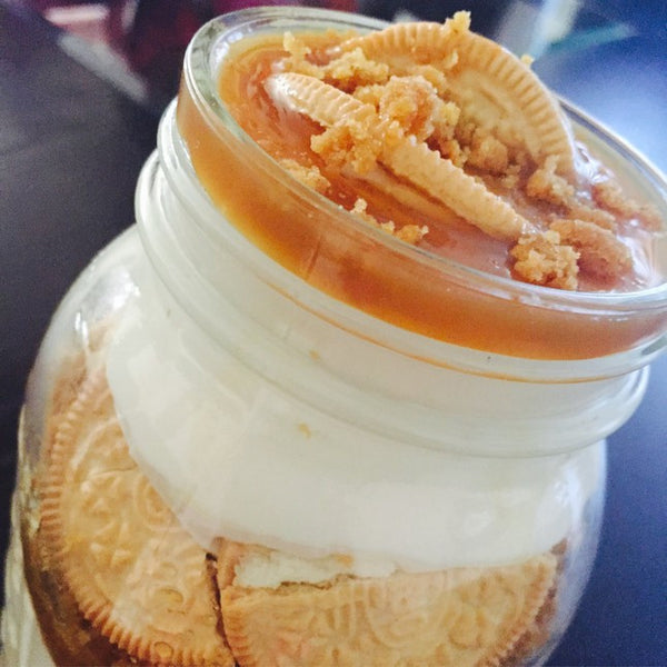 Golden Oreo Caramel Cheesecake Jar