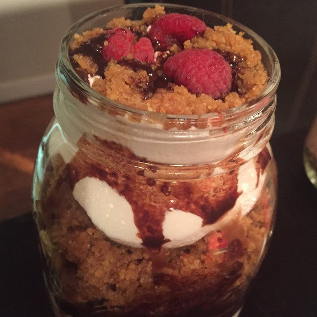 Raspberries And Chocolate Cheesecake Jar