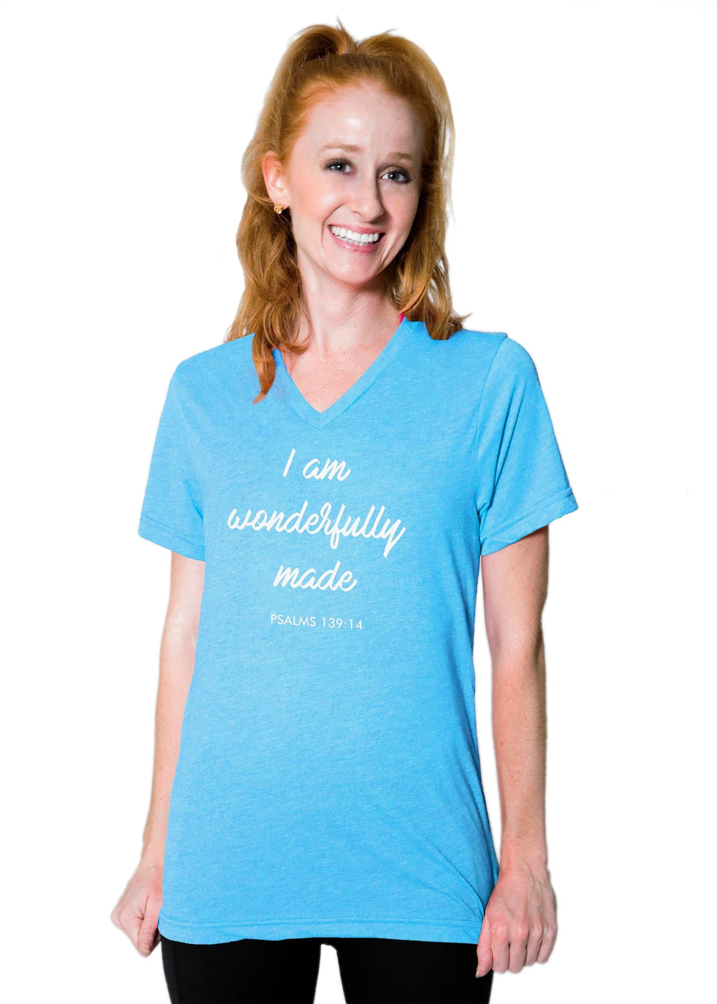 "Boyfriend V Neck Tee - ""Wonderfully Made"""