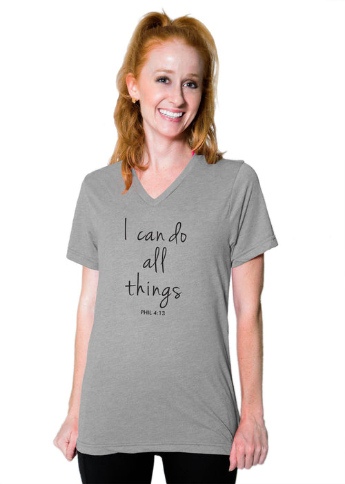 "Boyfriend V Neck Tee - ""I Can Do All Things"" - Heather Grey"