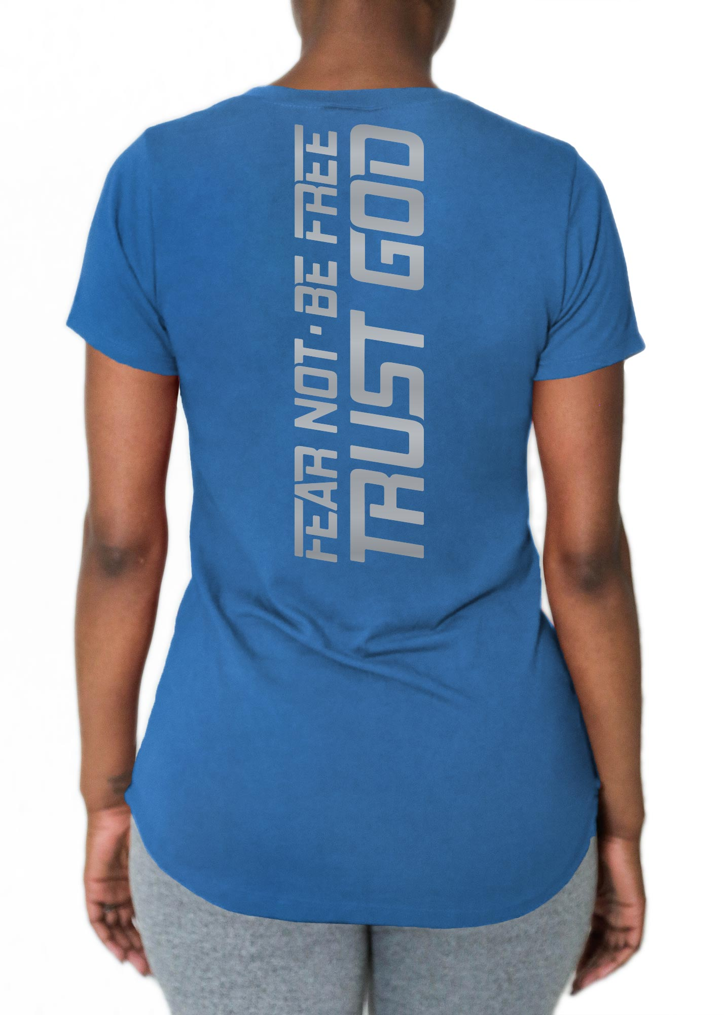 "V Neck Tri-Tec™ Performance Tee - ""Fear Not. Be Free. Trust God."""