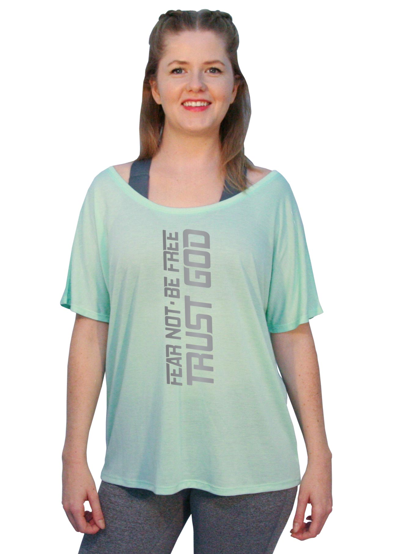 "Off-The-Shoulder Tee - ""Fear Not. Be Free. Trust God."""
