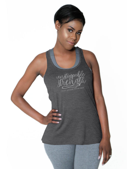 "Racerback Flowy Tank - ""Unstoppable Strength"""