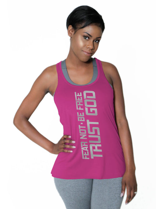 "Racerback Flowy Tank - ""Fear Not. Be Free. Trust God."""