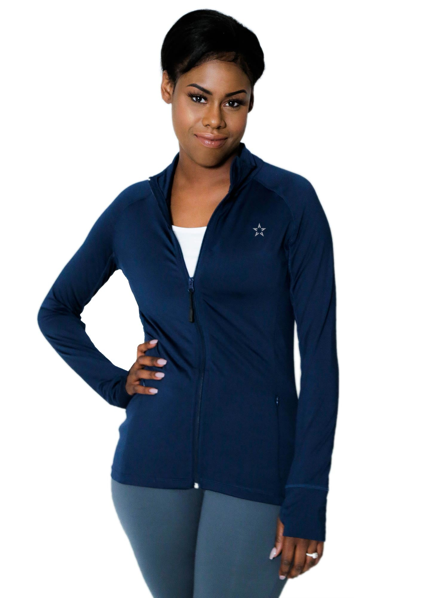 navy performance jacket with mesh christian