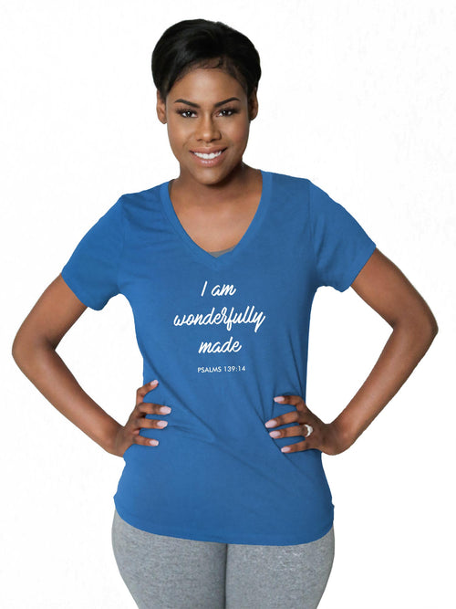"V Neck Tri-Tec™ Performance Tee - ""Wonderfully Made"""
