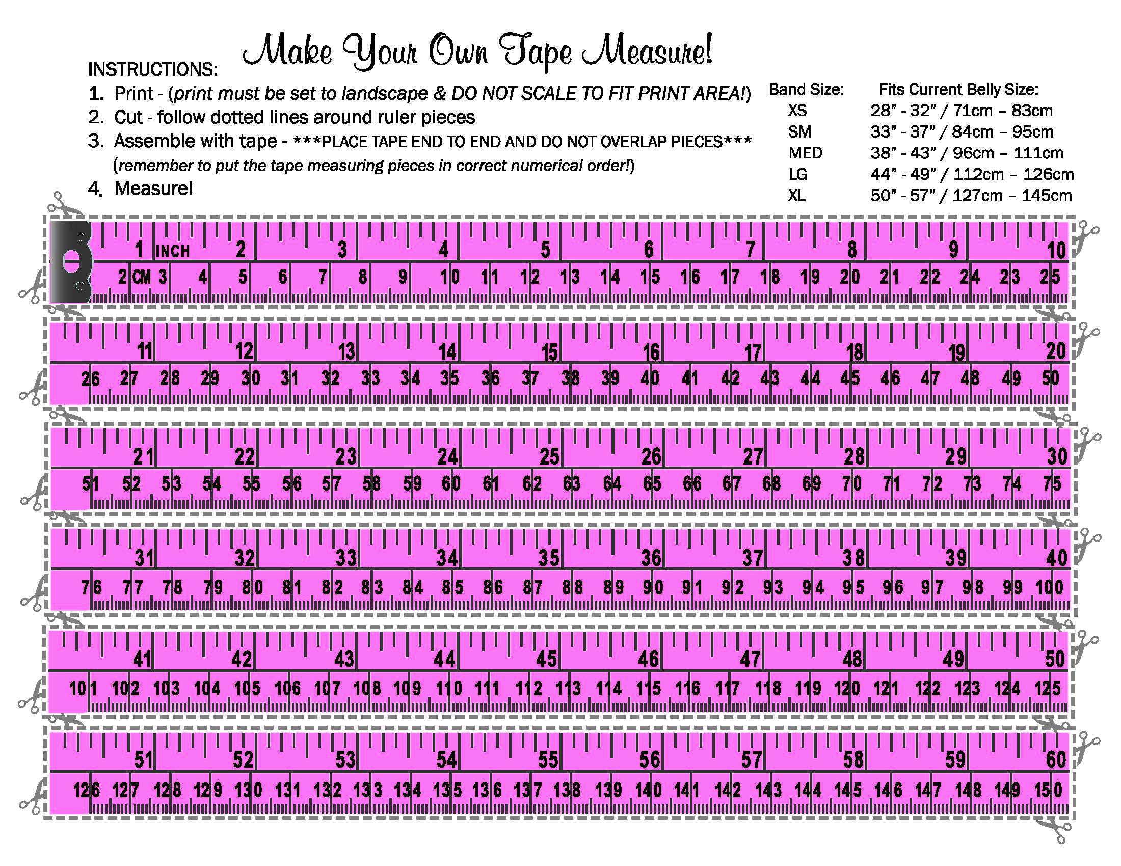 image about Printable Measuring Tape for Body named Measurement Tummy Bandit