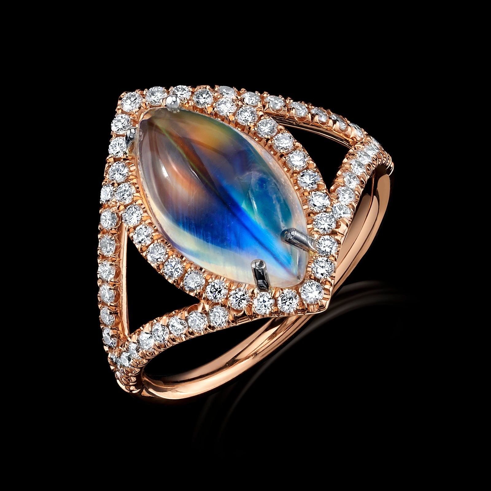 Evil Eye Moonstone Diamond Ring
