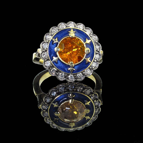 Orange Diamond Enamel Ring