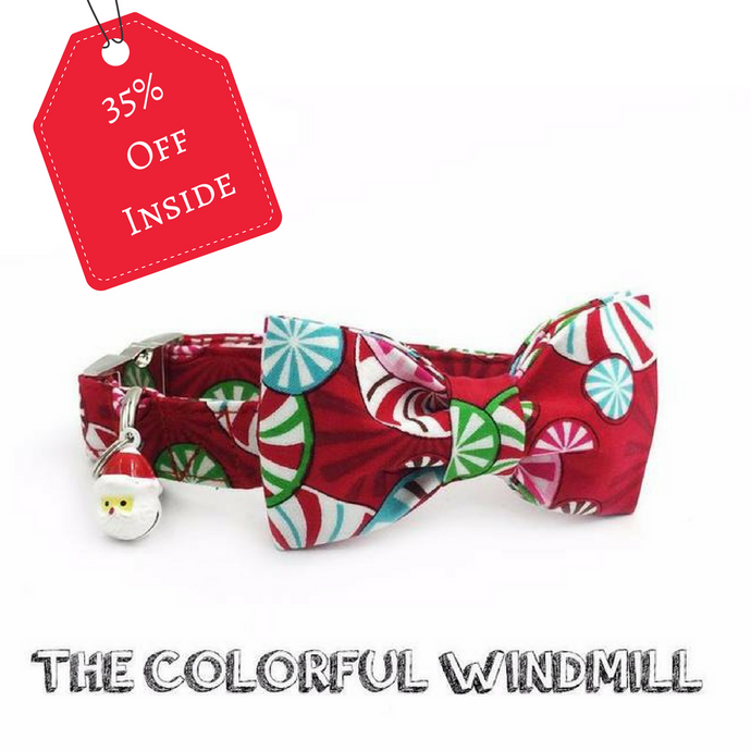 The Colorful Windmill Christmas dog/cat collar with bow tie