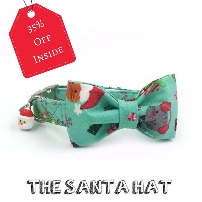 The Santa Hat Christmas dog/cat collar with bow tie