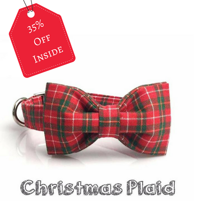 Christmas Red Plaid dog/cat collar with bow tie