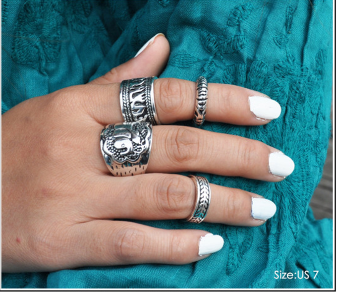 Bohemian Elephant Rings Set