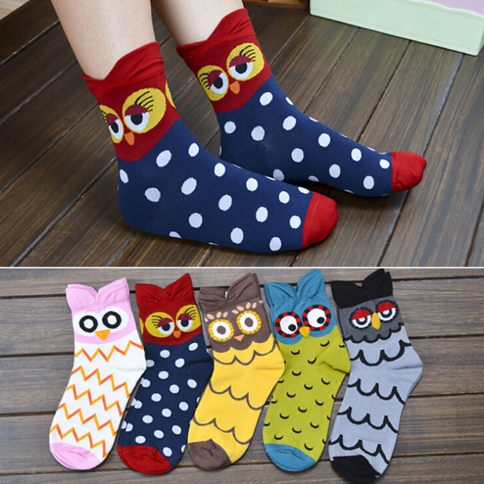 Soft Cotton Owl Socks