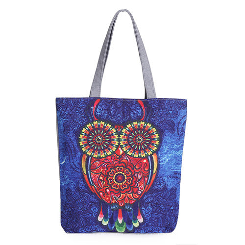 Owl Print Tote Canvas Bag