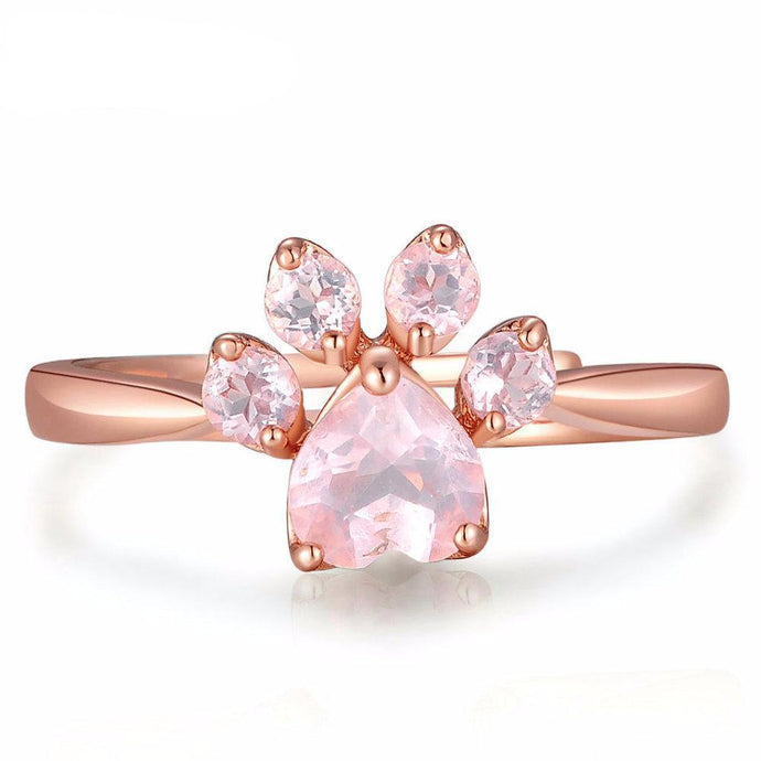 Pink Rose Quartz 925 Sterling Silver Paw Ring