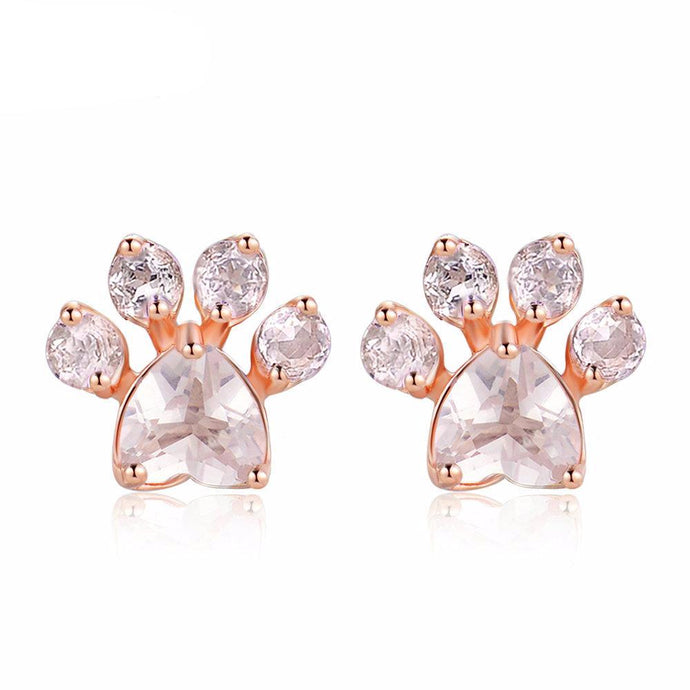 Rose Quartz 925 Sterling Silver Stud Paw Earrings