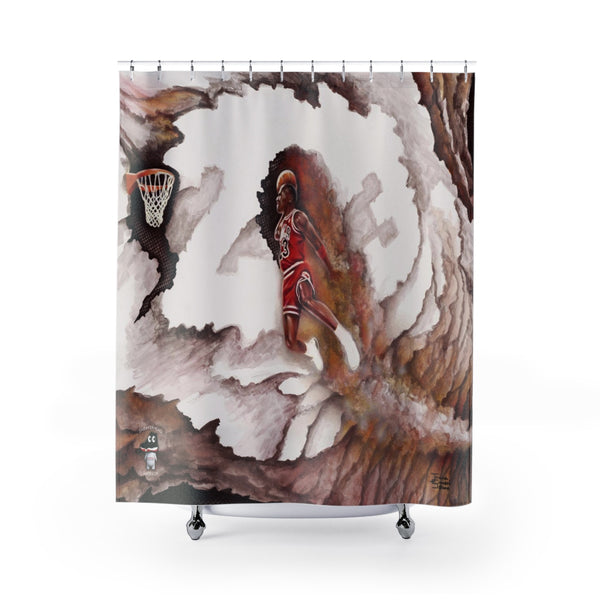 Michael Jordan Foul Line Dunk - Original Painting Shower Curtains