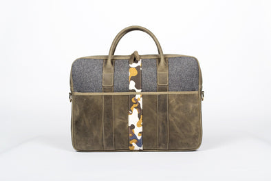 Leather Parliament Briefcase in Olive Green