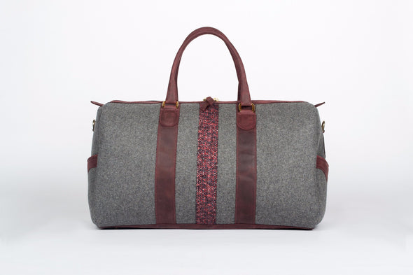ox blood/grey wool weekender