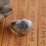 Silver lotus Buddhist mantra ring - 925 Sterling Silver