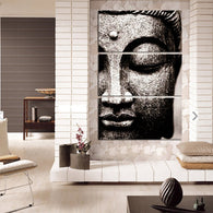 Modern Large Oil Style Buddha Print on Canvas/Frameless 3 Panel