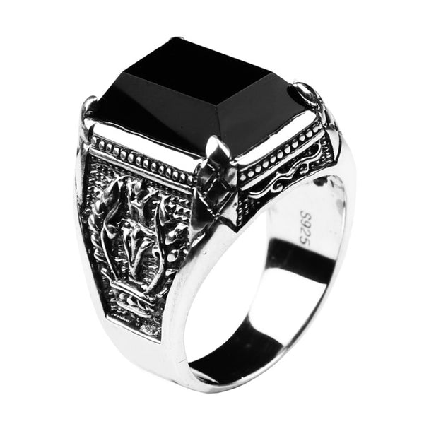 Black Obsidian Vintage Ring- 100% 925 Sterling Silver