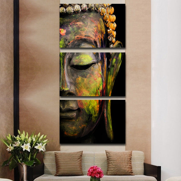 AMAZING 3PCS BUDDHA CANVAS ART - FRAMED/UNFRAMED