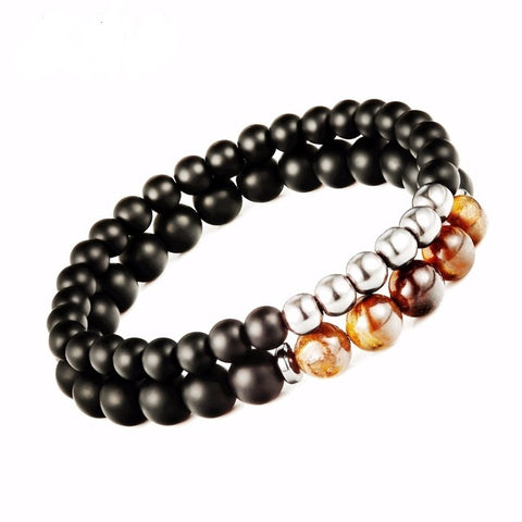 Tiger eye Beaded Bracelet - Mantra Prayer Beads - Buddha/Yoga - 2pcs