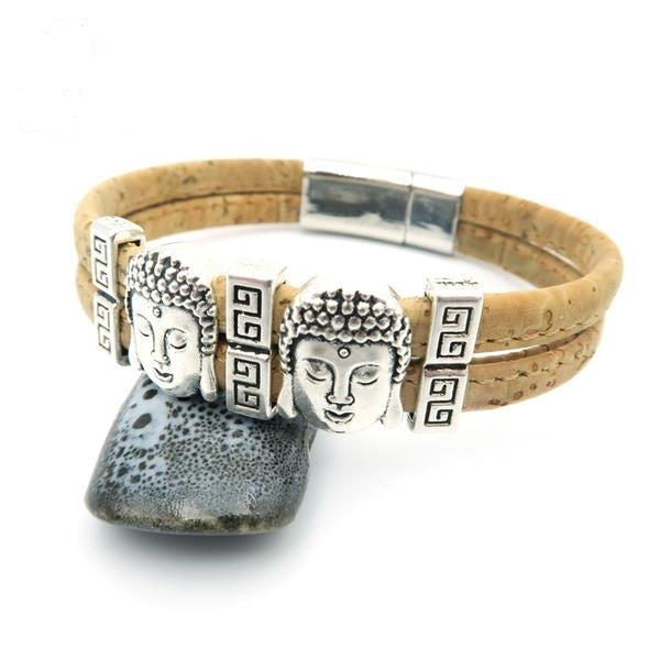 lovely Cork Buddha  Bracelet - Yoga/Meditation