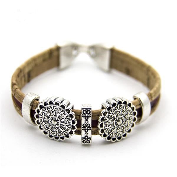 Handmade Natural cork bracelet - round flower