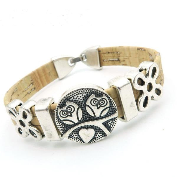 The Cutest Little Owl Bracelet - 100% All Natural Cork -Handmade