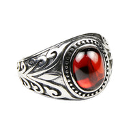 Gorgeous Silver Flower Engraved Red Garnet & Black Onyx  Ring