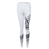 Beautiful Tree Pattern Yoga Leggings - High Elastic Waist - Black & White