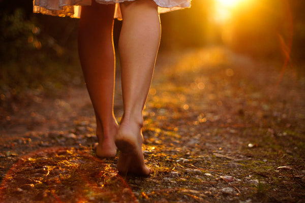 walking barefoot - forest bathing